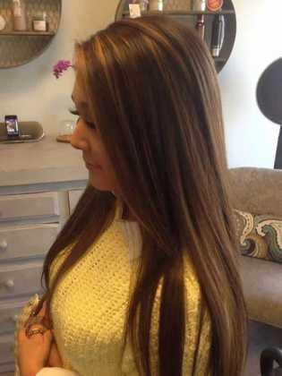 Düz Kahverengi Saça Çok Hoş Karamel Işıltısı Modeli