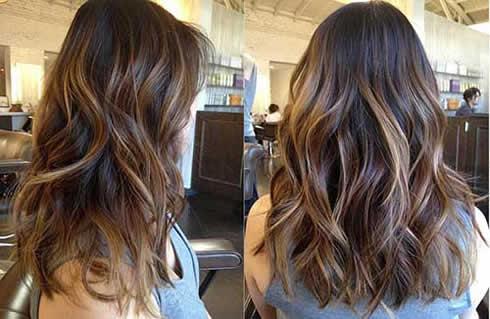 Kahverengi Saç �zerine Karamel Balyaj