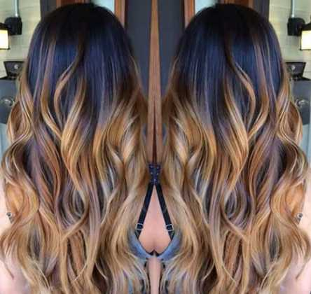 Koyu Saça Karamel Saç Rengi Ombre Saç Modeli